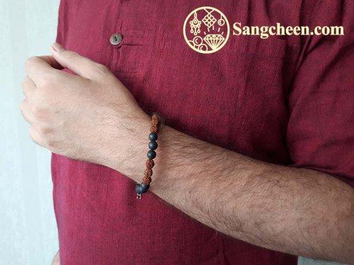 دستبند سنگ اونیکس مردانه