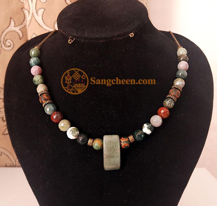گردنبند عقیق خزه ای اصل با مهره تبتی