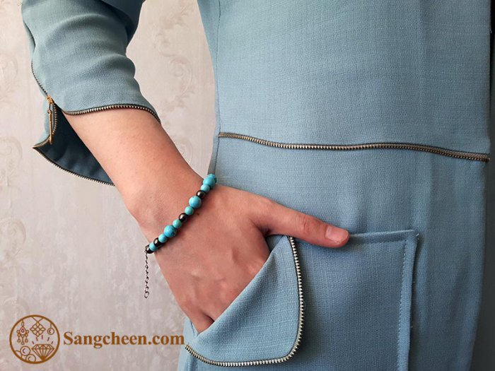 دستبند فیروزه اصل و حدید