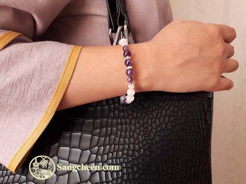 دستبند زنانهآمتیست و کوارتز صورتی