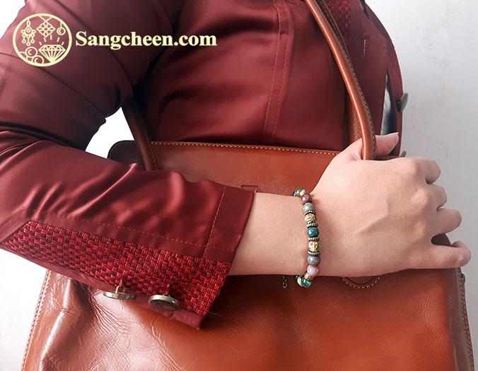 دستبند عقیق خزه ای اصل
