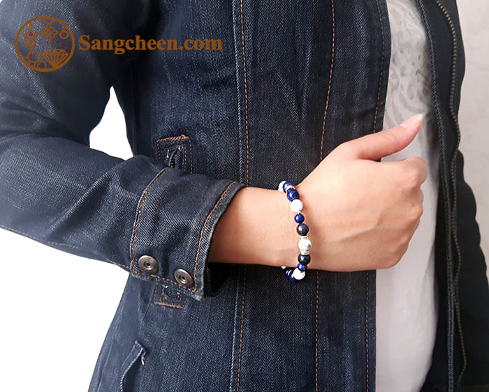 دستبند سنگ لاجورد و هولیت اصل