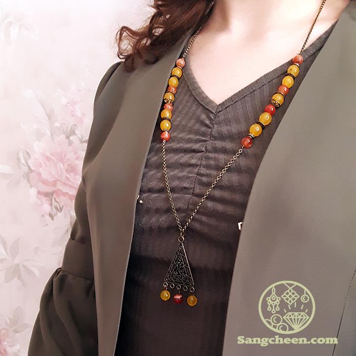 گردنبند سنگ عقیق یمانی و عقیق زرد اصل