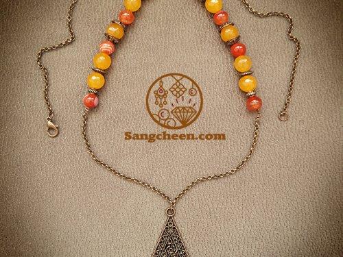 گردنبند سنگ عقیق اصل رو مانتویی