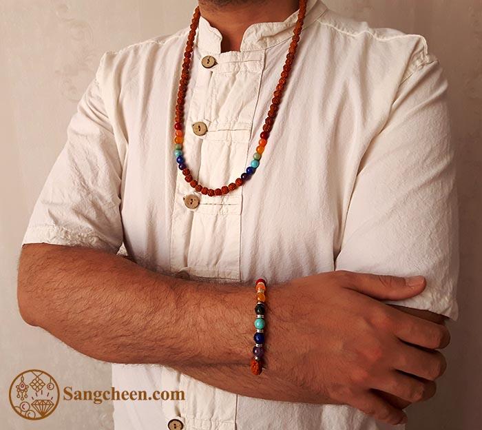 گردنبند رودراکشای اصل با سنگهای اصل هفت چاکرا